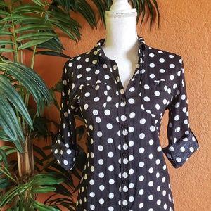 Van Heusen Polka Dot Button Down Shirt Black White